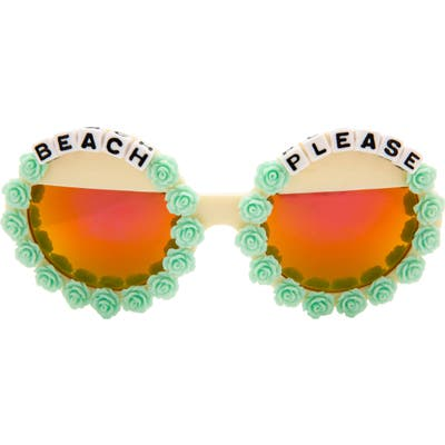 Rad + Refined Beach Please Mirrored Round Sunglasses - Blue/ Cream