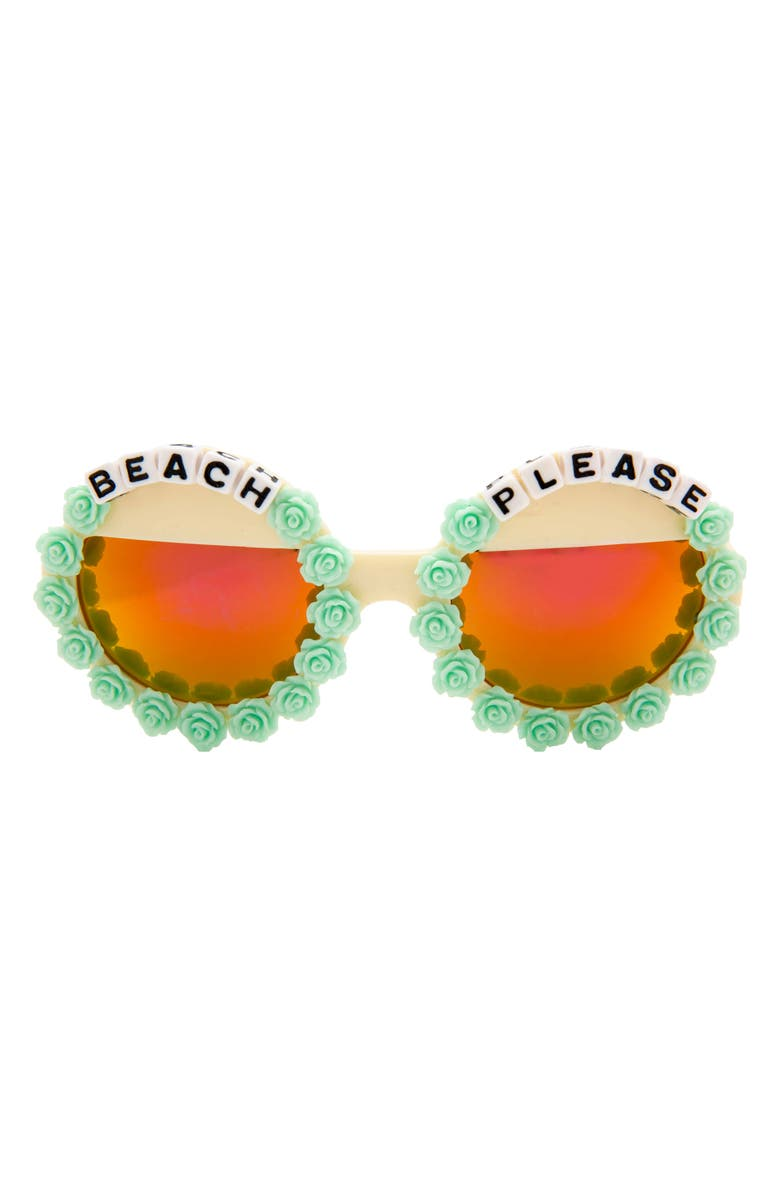 RAD + REFINED Beach Please Mirrored Round Sunglasses, Main, color, BLUE/ CREAM