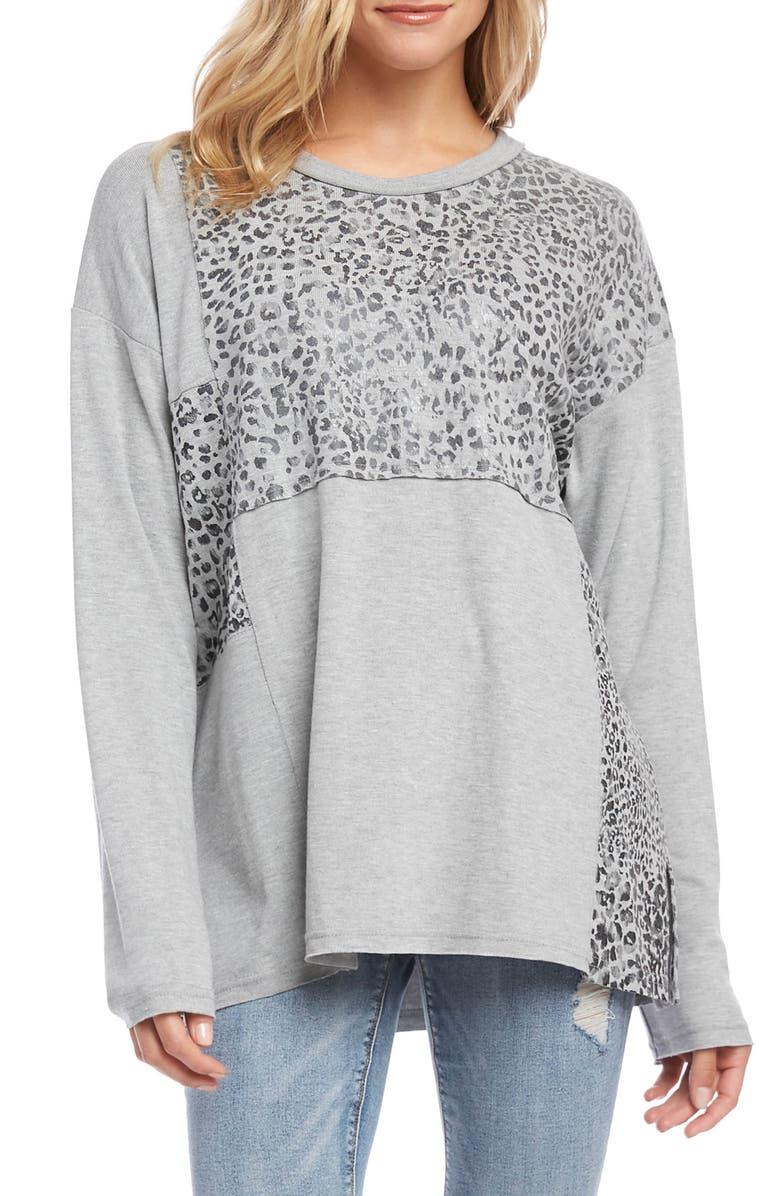 KAREN KANE Leopard Print Contrast Panel Sweater, Main, color, LIGHT HEATHER GRAY
