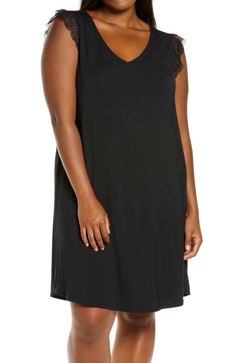 NORDSTROM Moonlight Lace Trim Nightgown, Main, color, 001