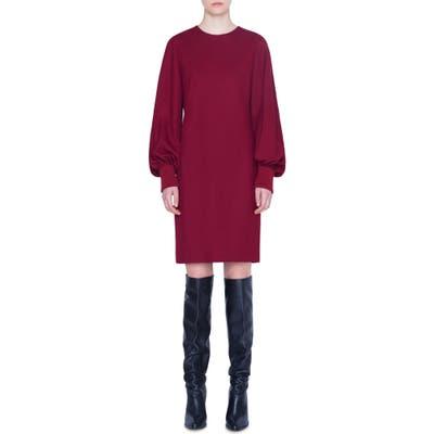 Akris Punto Long Balloon Sleeve Wool Dress, Red