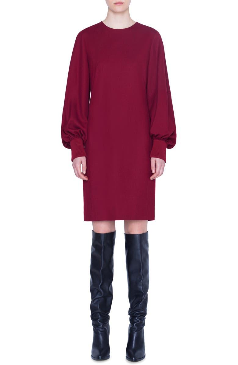 AKRIS PUNTO Long Balloon Sleeve Wool Dress, Main, color, RUBY