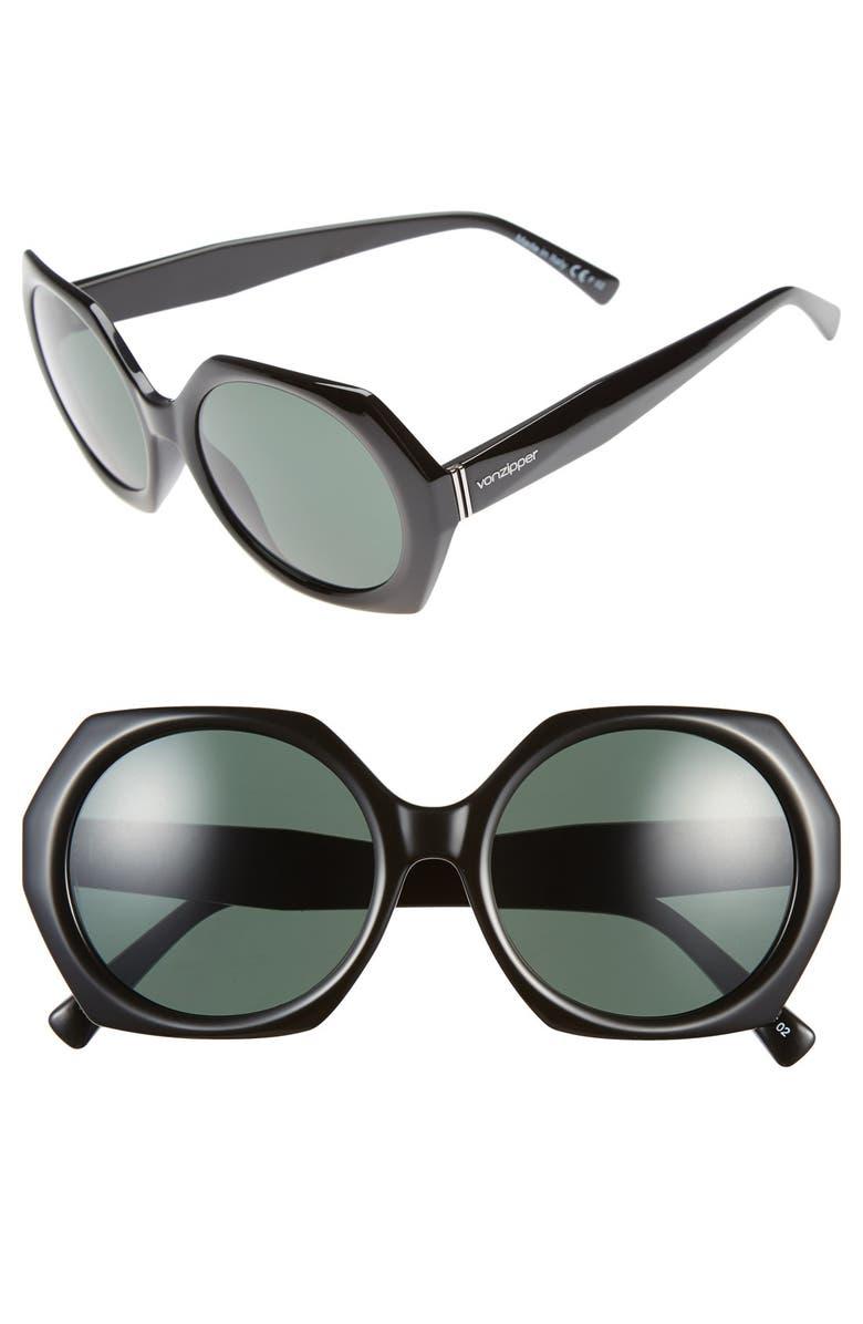 VON ZIPPER 'Buelah' 55mm Oversized Octagonal Sunglasses, Main, color, 001