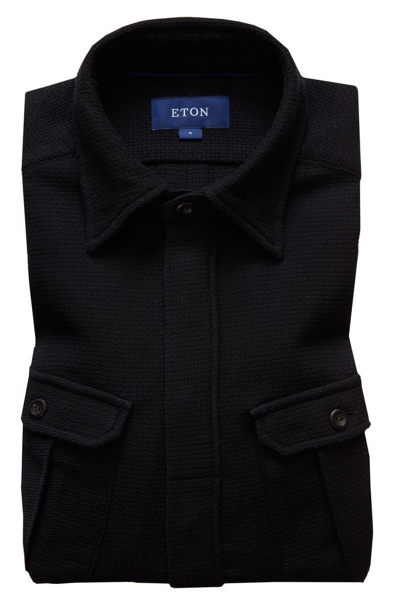 ETON Soft Casual Line Contemporary Fit Indigo Shirt Jacket, Main, color, BLACK