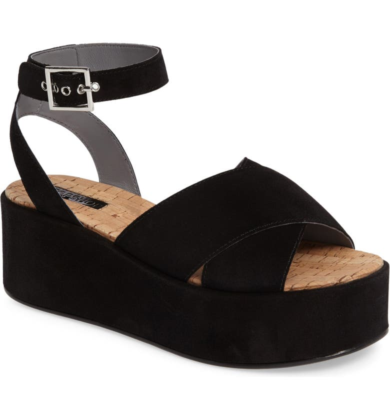 TOPSHOP Whisper Platform Sandal, Main, color, 001
