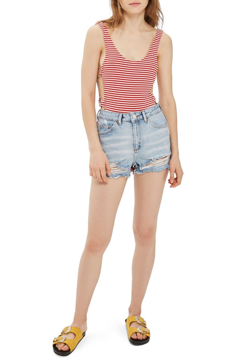 TOPSHOP Flag Ripped Mom Shorts, Main, color, 400