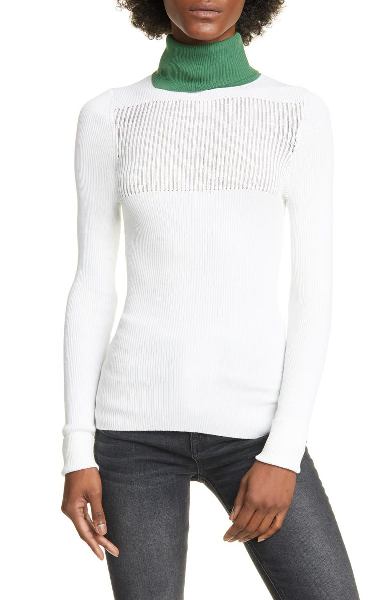 SMYTHE Rib Contrast Turtleneck Sweater, Main, color, WHITE W GREEN