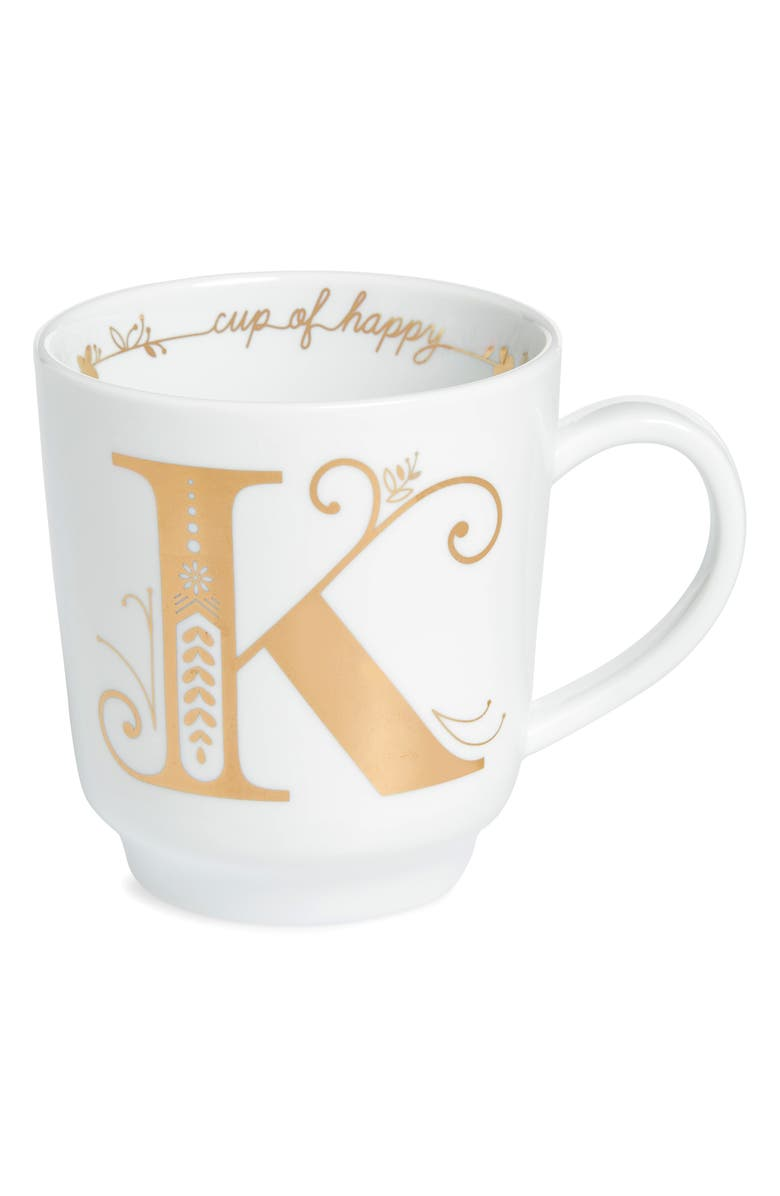 NORDSTROM Cup of Happy Glazed Monogram Mug, Main, color, K - GOLD MULTI
