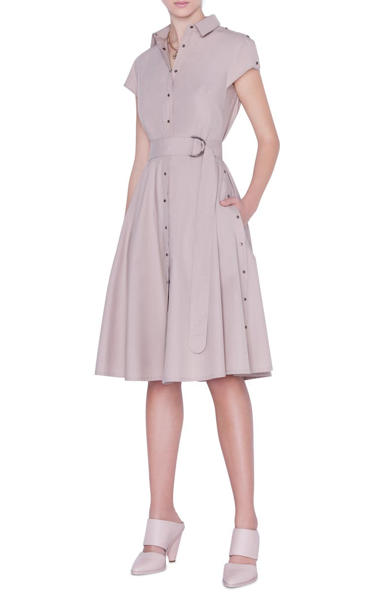 AKRIS PUNTO Belted Cotton Shirtdress, Main, color, SAND