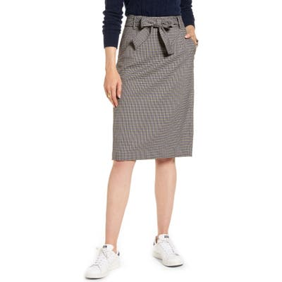 Petite 1901 Houndstooth Pencil Skirt, Brown