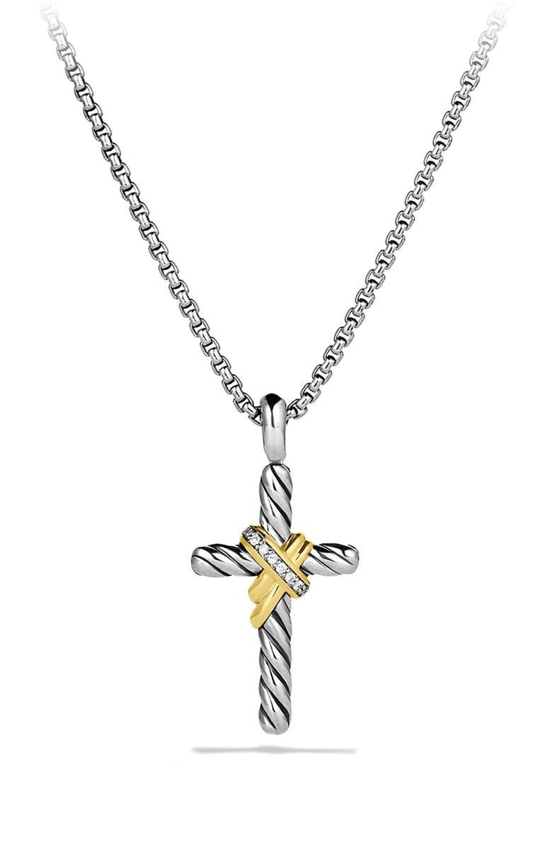 DAVID YURMAN 'X' Cross with Diamonds and Gold on Chain, Main, color, DIAMOND