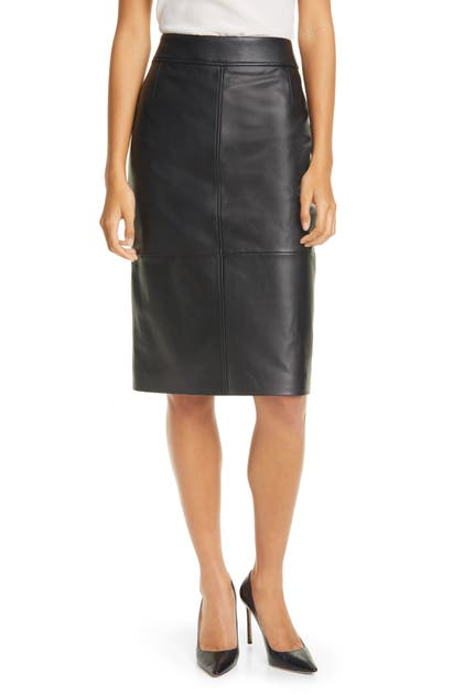 Boss Skirts SELRITA LAMBSKIN LEATHER PENCIL SKIRT