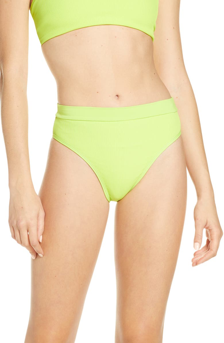 L SPACE French Cut High Waist Textured Swim Bottoms, Main, color, 300