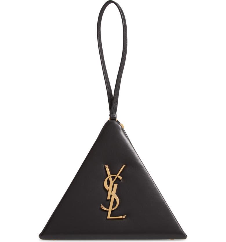SAINT LAURENT Pyramid Lambskin Minaudière, Main, color, NOIR