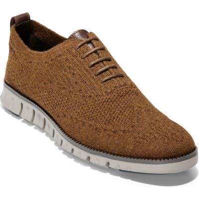Cole Haan Zerogrand Stitchlite Wool Wingtip Oxford- Brown