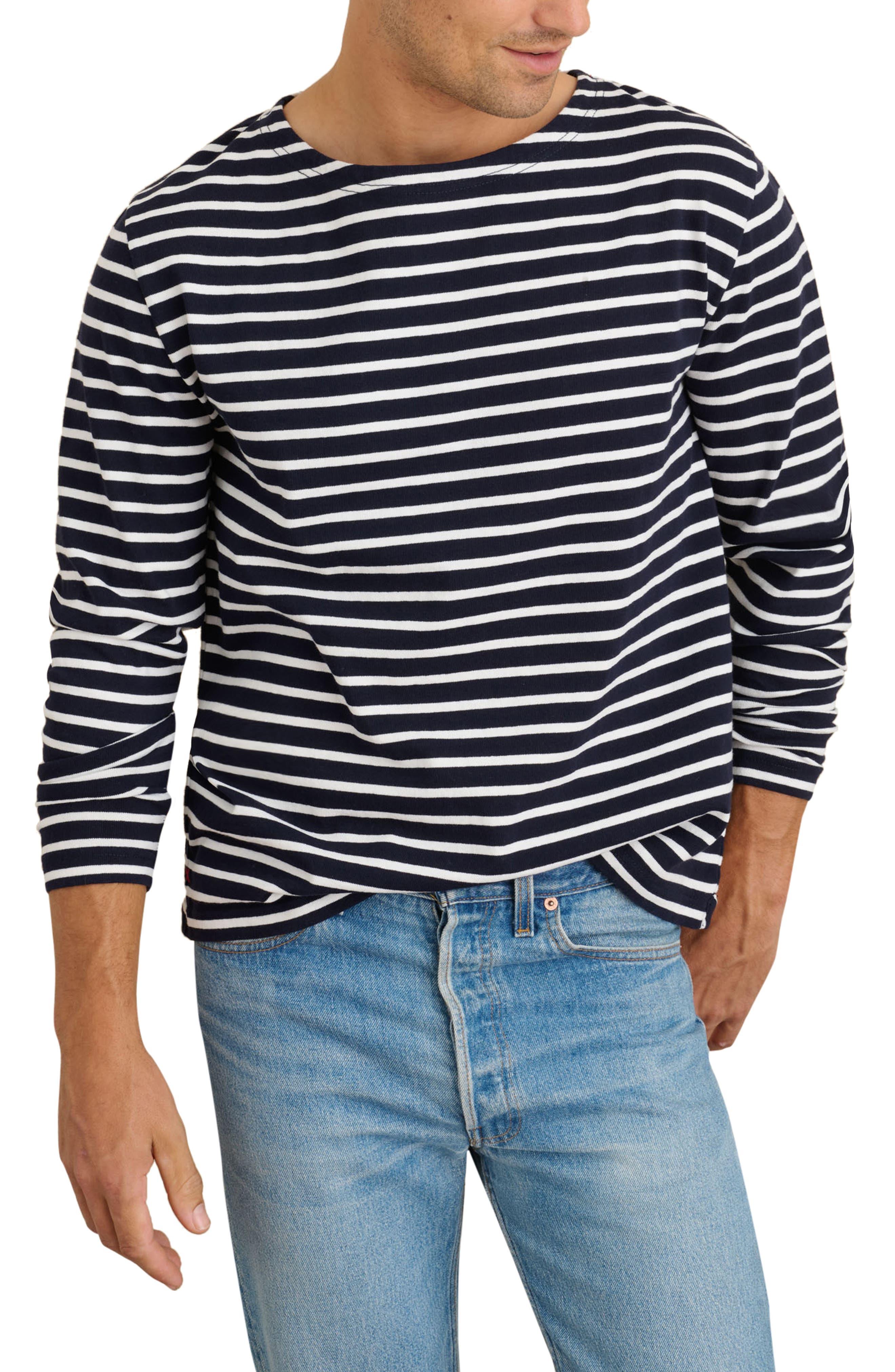 Men's Deck Stripe Long Sleeve Cotton T-Shirt