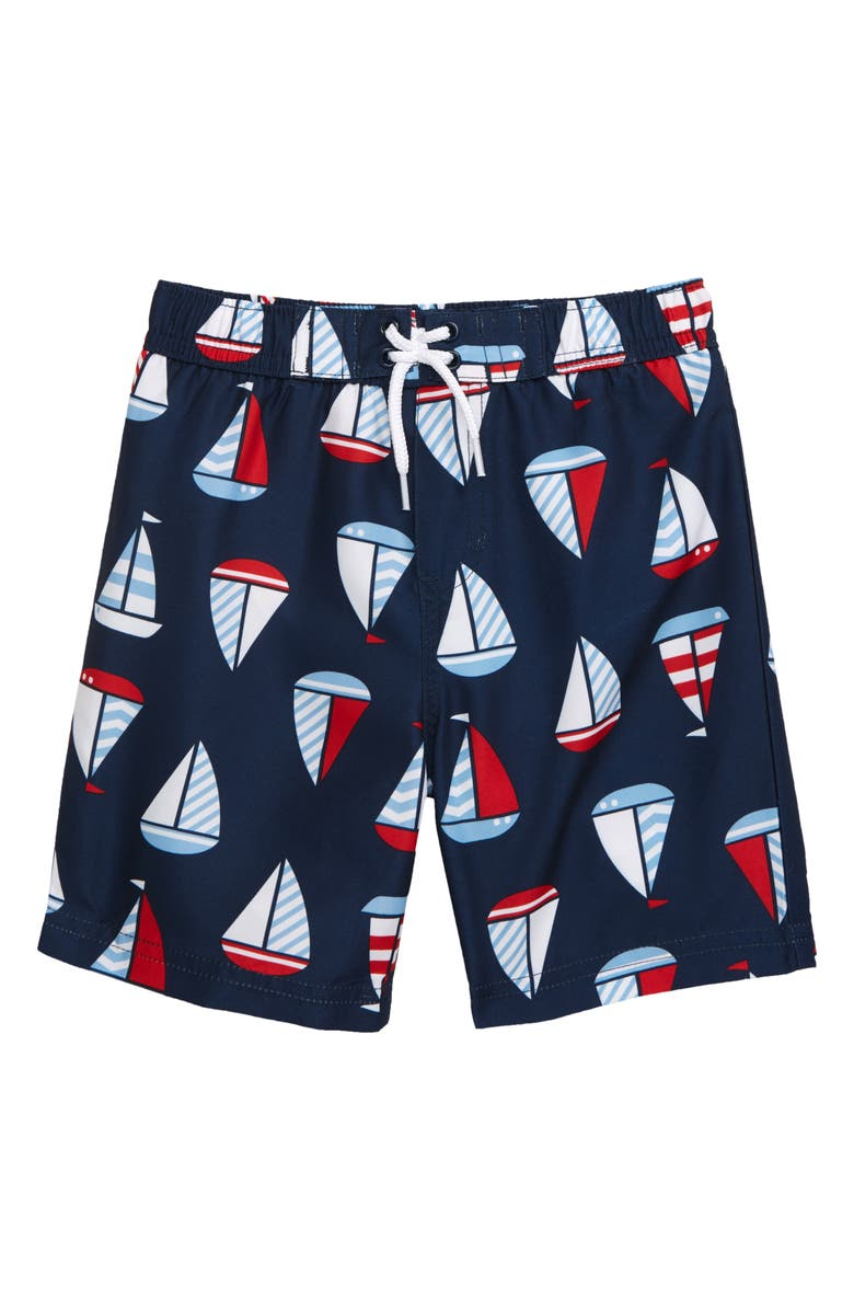 LITTLE ME Sail Boat Graphic Swim Trunks, Main, color, BLUE