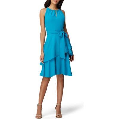 Tahari Hilton Tiered Ruffle Sleeveless Crepe Dress