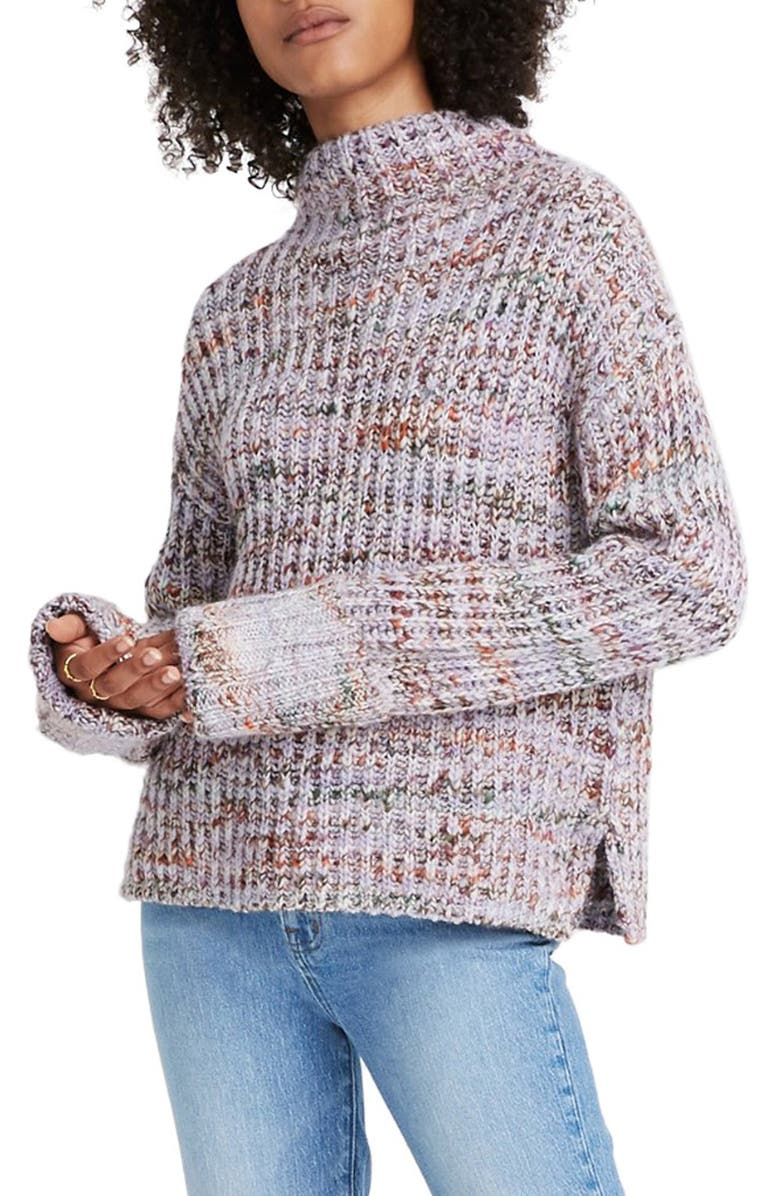 MADEWELL Rayner Mock Neck Sweater, Main, color, MARLED ORCHID