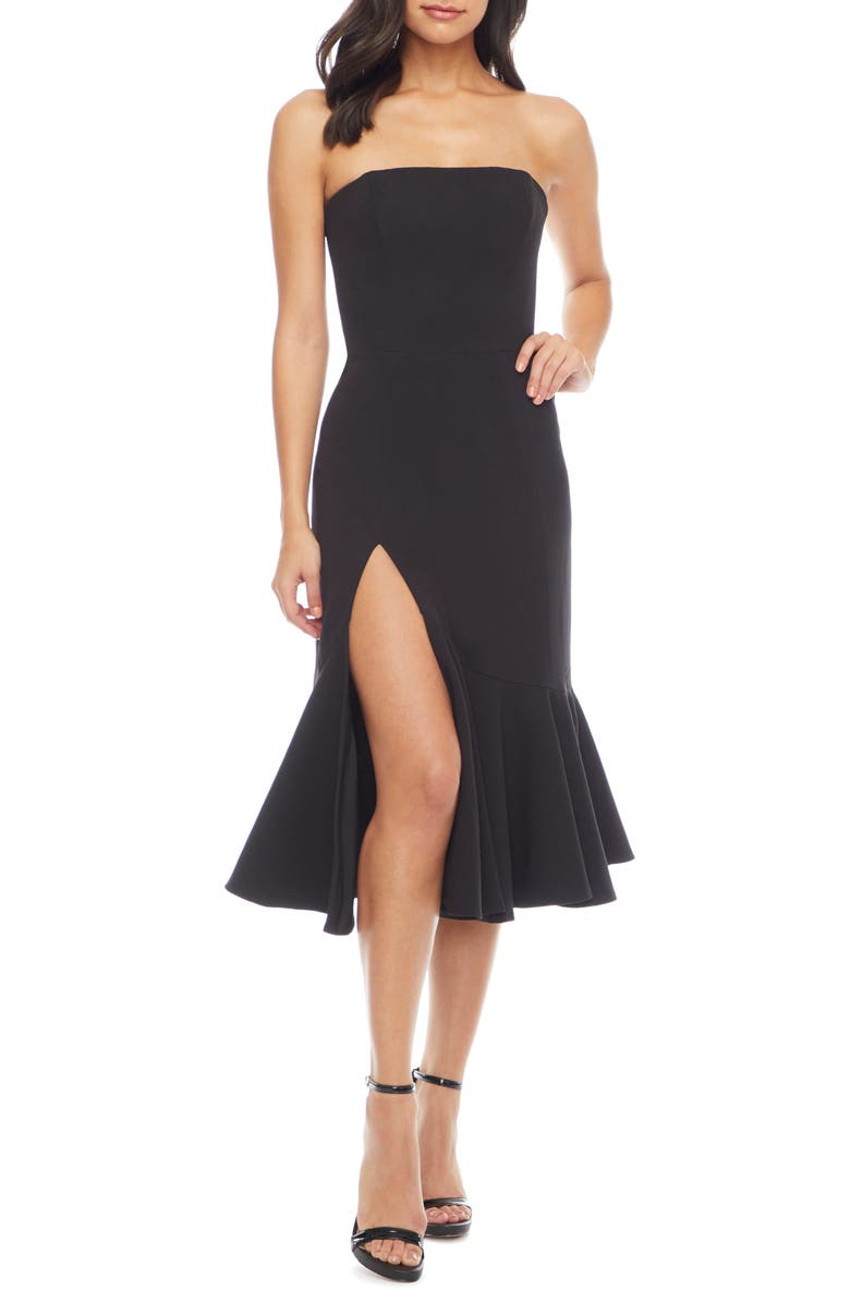 DRESS THE POPULATION Madison Strapless Dress, Main, color, BLACK