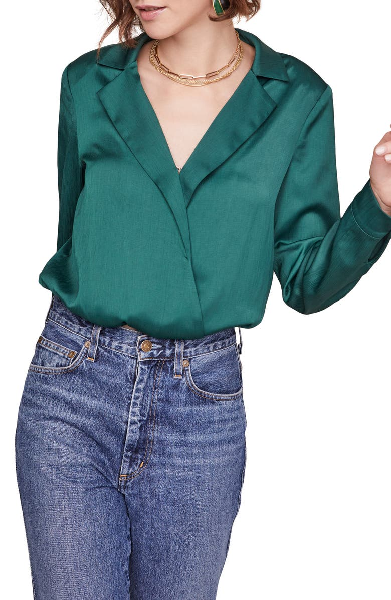 ASTR THE LABEL Calypso Long Sleeve Crop Blouse, Main, color, HUNTER GREEN