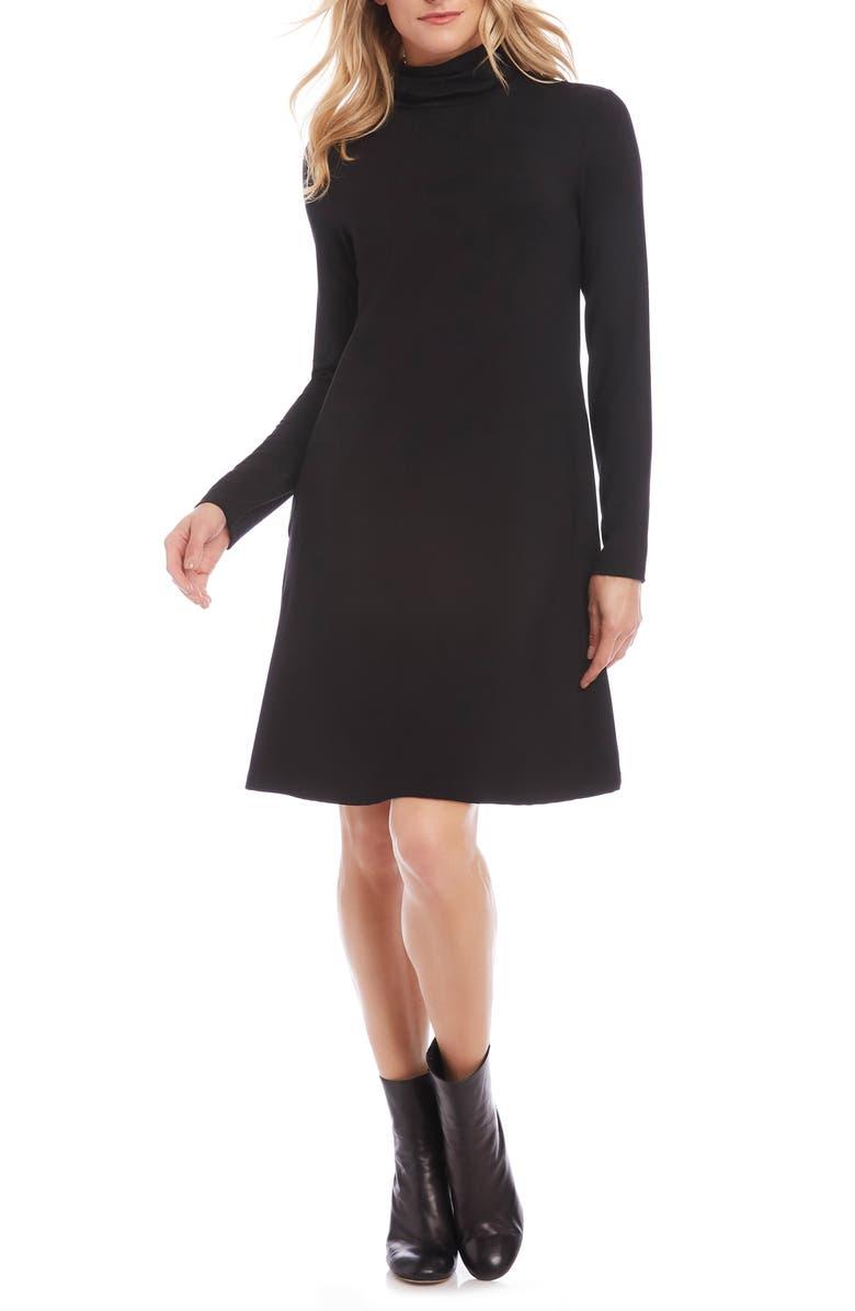 KAREN KANE Quinn Long Sleeve Turtleneck Dress, Main, color, 001
