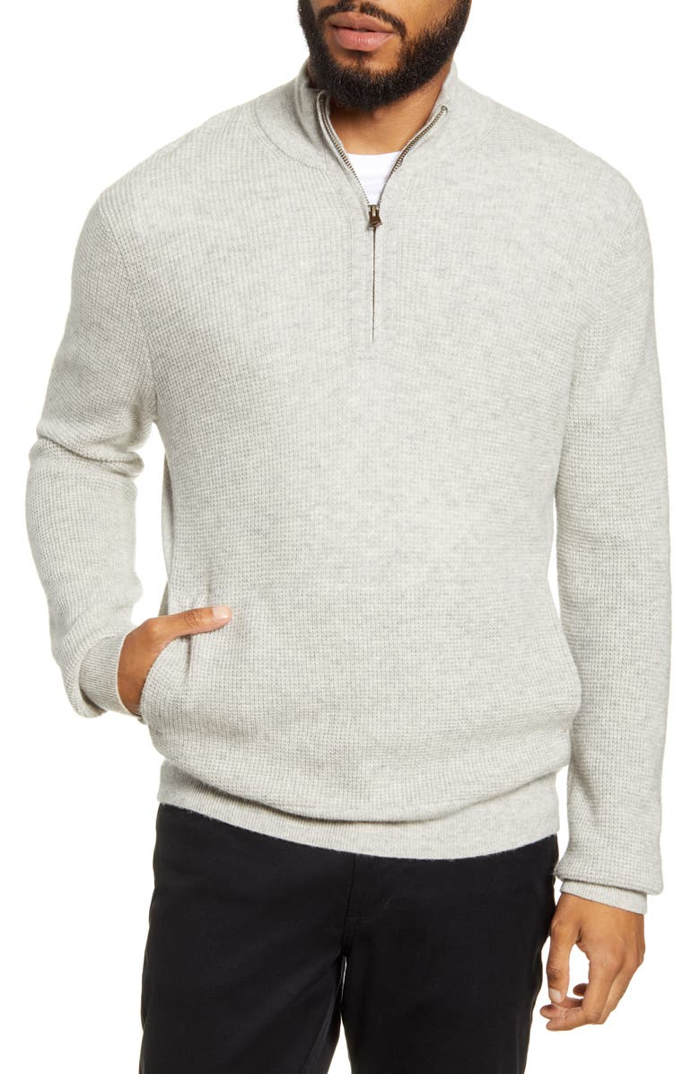 VINCE Quarter Zip Thermal Sweater, Main, color, H DOVE GREY