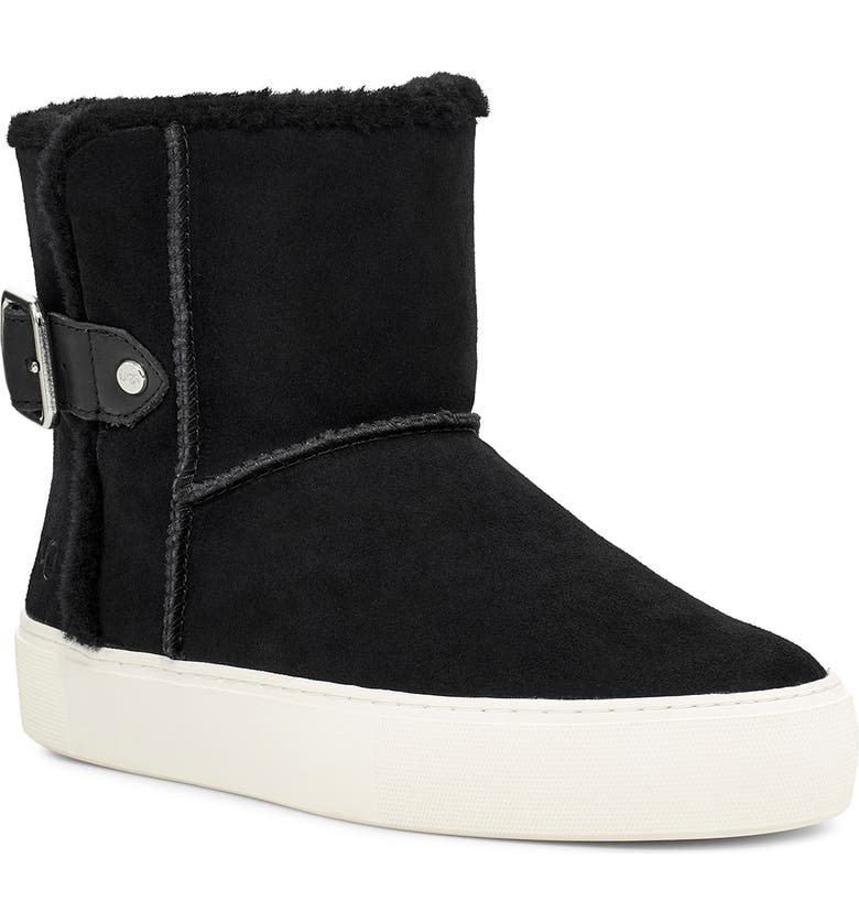UGG<SUP>®</SUP> Aika Water Resistant Platform Sneaker Boot, Main, color, BLACK LEATHER
