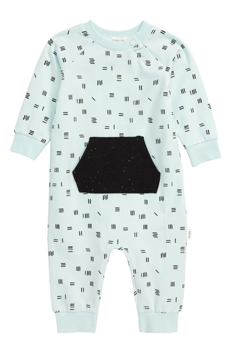MILES baby Stripe Romper, Main, color, LIGHT TURQUOISE