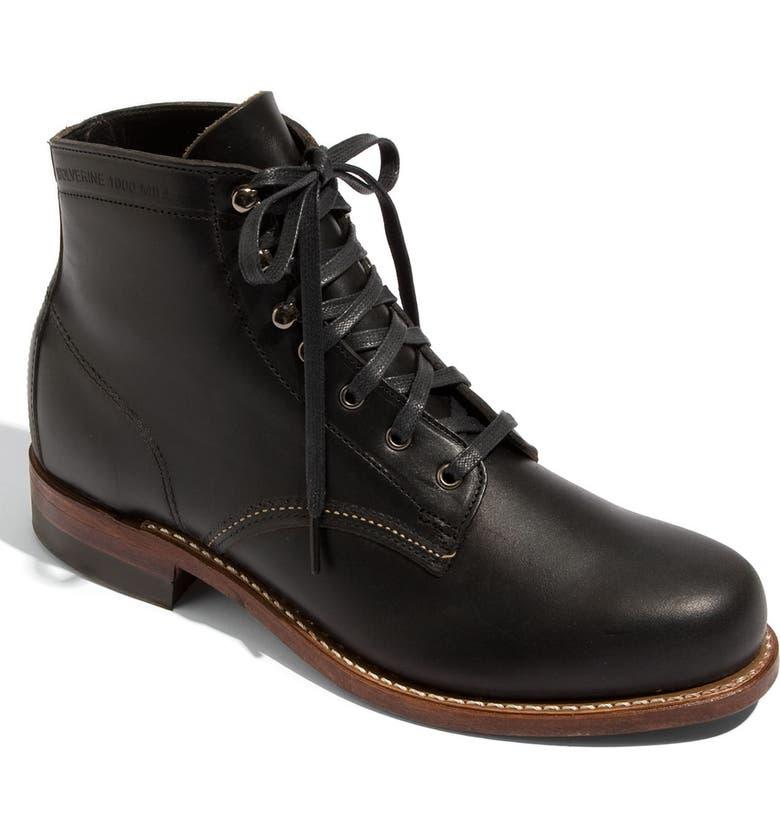 WOLVERINE '1000 Mile' Plain Toe Boot, Main, color, BLACK