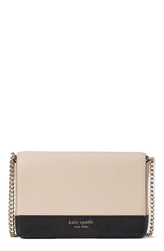 Kate Spade Spencer Chain Wallet In Warm Beige/ Black