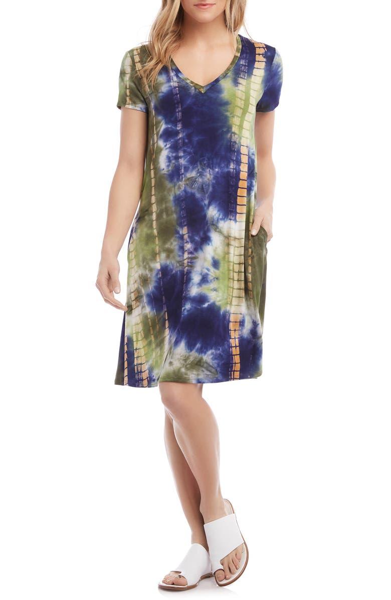 KAREN KANE Quinn V-Neck T-Shirt Dress, Main, color, TYE DYE