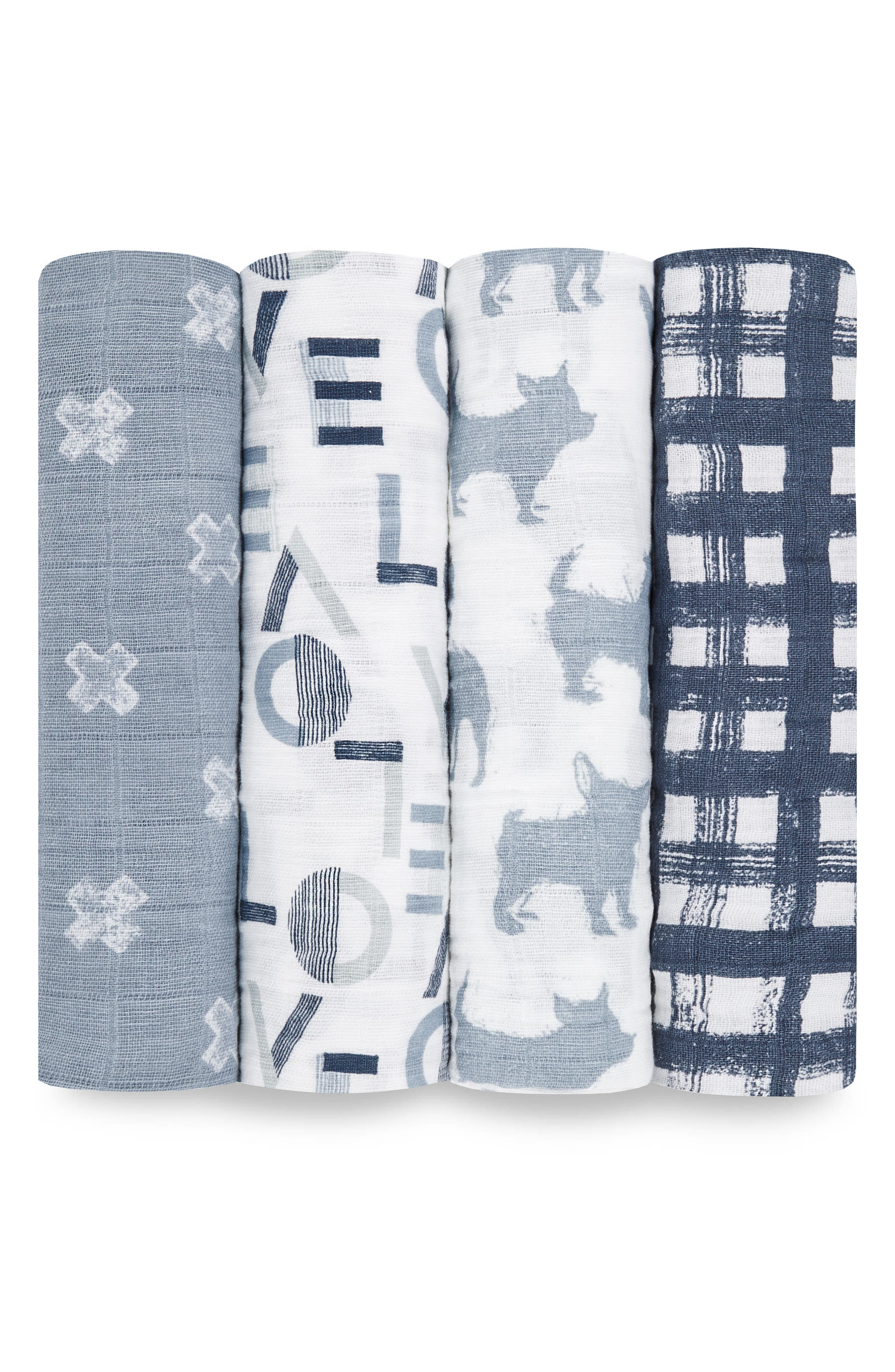 ,                             Set of 4 Classic Swaddling Cloths,                             Main thumbnail 1, color,                             WAVERLY