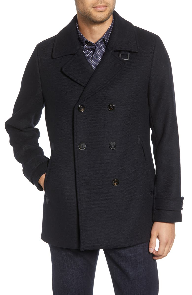TED BAKER LONDON Westutt Wool Blend Peacoat, Main, color, NAVY