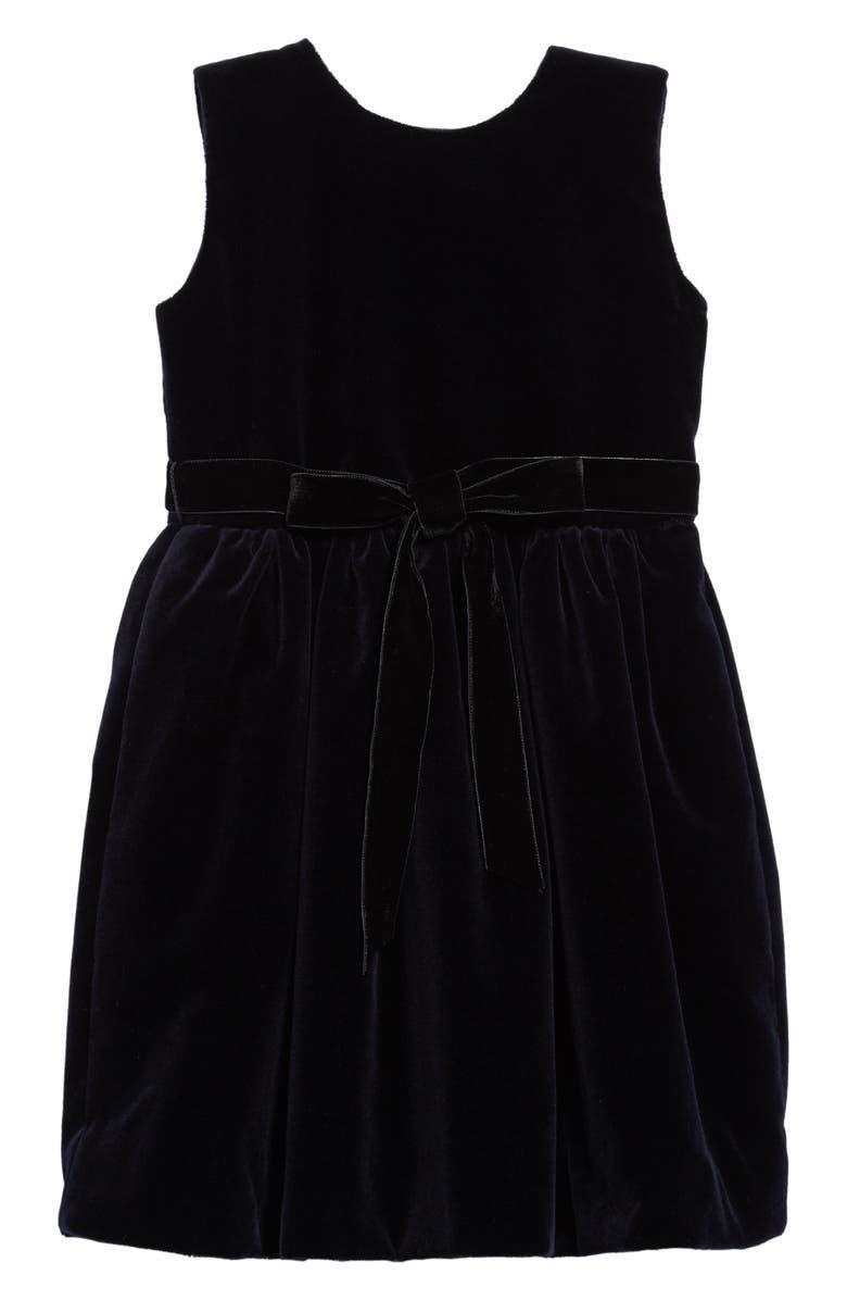 OSCAR DE LA RENTA Belted Velvet Dress, Main, color, 410
