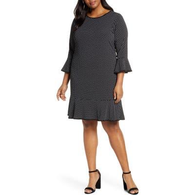 Plus Size Michael Michael Kors Mini Dot Flounce Dress, Black