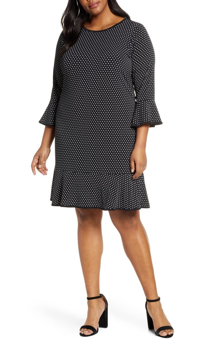 MICHAEL MICHAEL KORS Mini Dot Flounce Dress, Main, color, 001