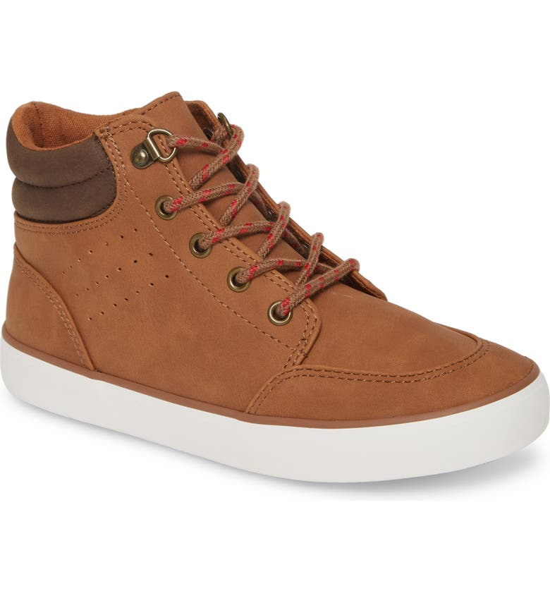 TUCKER + TATE Hiker High Top Sneaker, Main, color, COGNAC FAUX LEATHER