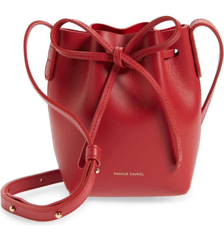 MANSUR GAVRIEL Baby Leather Bucket Bag, Main, color, FLAMMA