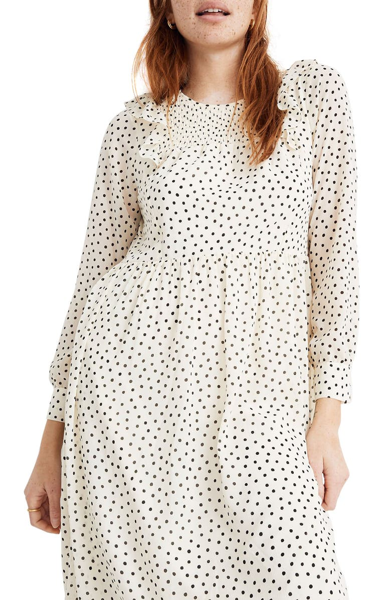 MADEWELL Smocked Ruffle Shoulder Midi Dress, Main, color, SCATTERED DOT ANTIQUE CREAM