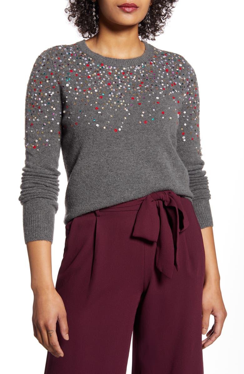 HALOGEN<SUP>®</SUP> Multicolor Sequin Sweater, Main, color, GREY DARK HEATHER