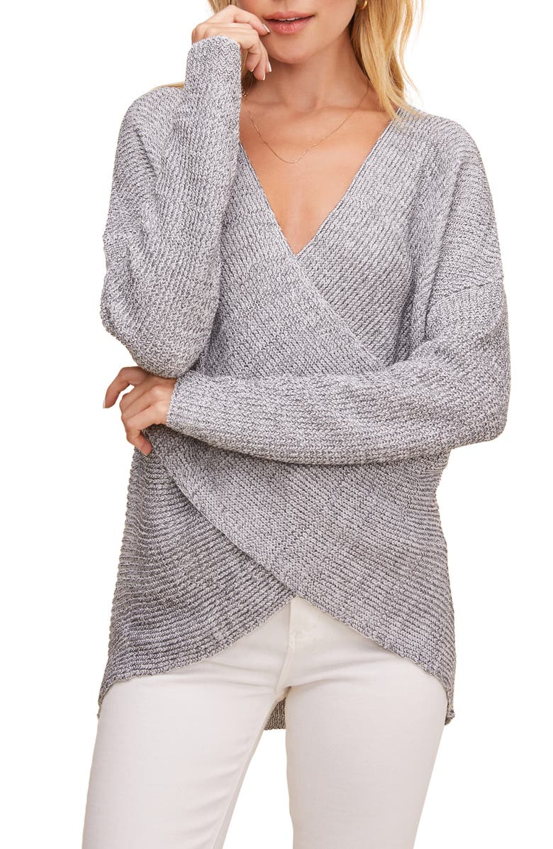 ASTR THE LABEL Wrap Front Sweater, Main, color, 020