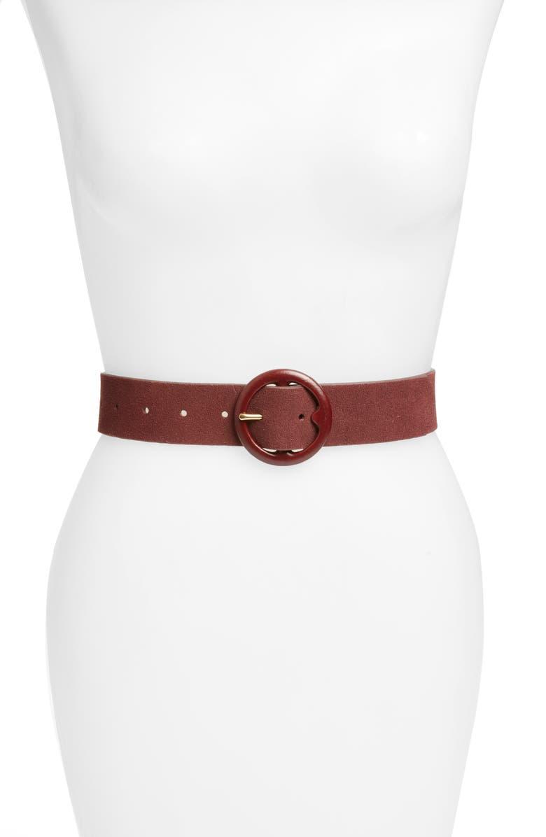 RACHEL PARCELL Covered Buckle Belt, Main, color, BURGUNDY BEET