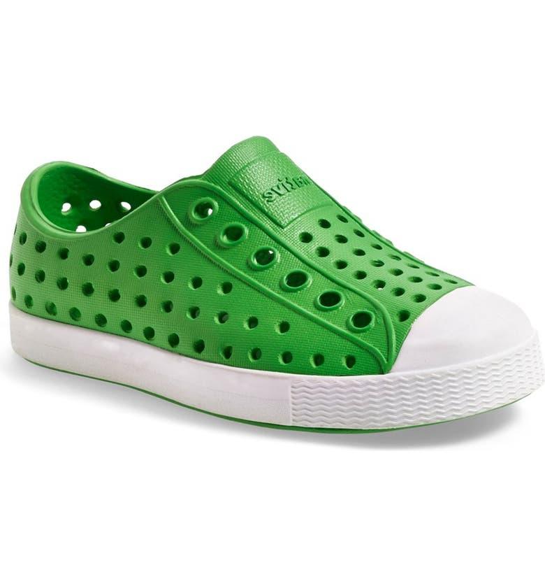 NATIVE SHOES Jefferson Water Friendly Slip-On Vegan Sneaker, Main, color, GRASSHOPPER GREEN/ SHELL WHITE