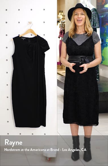 Shoulder Twist Ponte Knit Sheath Dress, sales video thumbnail