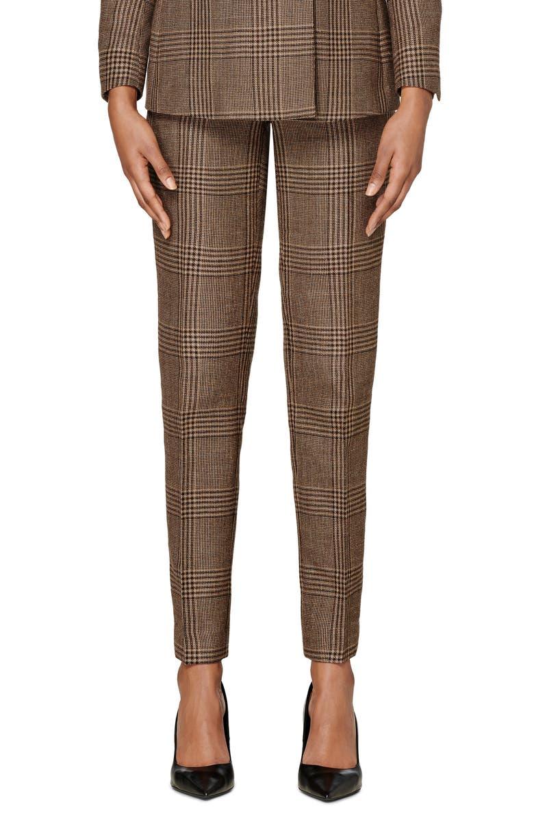 SUISTUDIO Lane Classic Plaid High Waist Wool Blend Trousers, Main, color, CAMEL/ CHOCOLATE PLAID