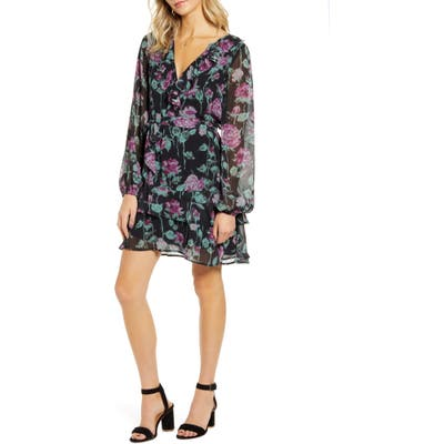 Paige Lucette Long Sleeve Silk Minidress, Black