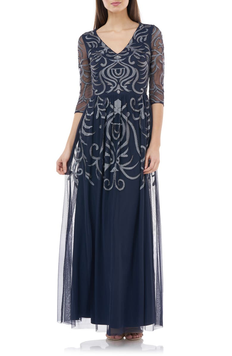 JS COLLECTIONS Embellished Gown, Main, color, NAVY