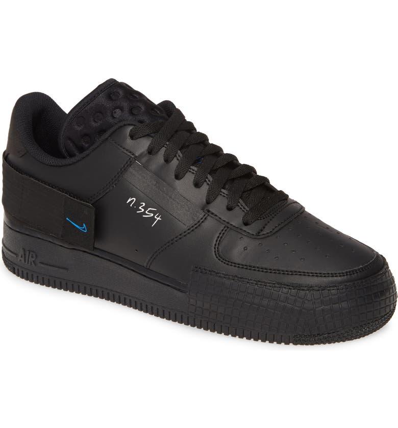 NIKE Air Force 1 Low Type Sneaker, Main, color, BLACK/BLUE-PLATINUM TINT