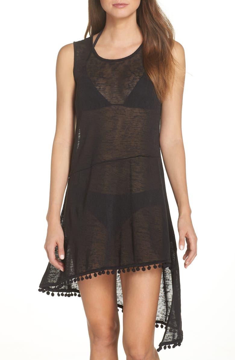 ECHO Pompom Cover-Up Dress, Main, color, 001